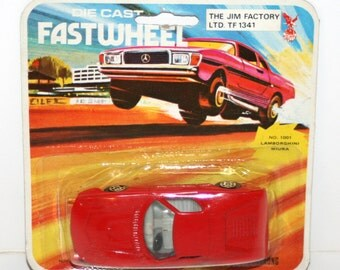 Vintage 1970's FASTWHEEL Lamborghini Miura #1001 Diecast Car In Original Package (The Jim Factory)