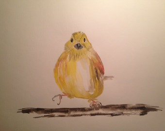 Original watercolor painting Yellowhammer
