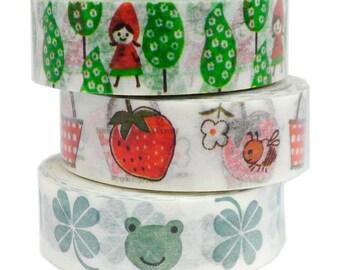 Washi Tape Japanese Masking Tape By Shinzi Katoh Designer SET 0f 3 - K
