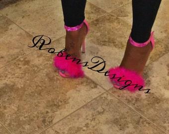 fur open toe shoes