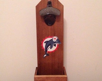 Wall Mounted Bottle Opener - Miami Dolphins