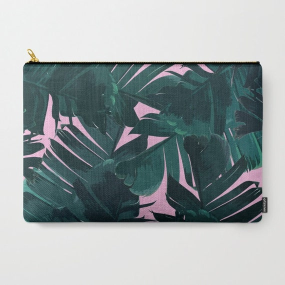 Green Pink Travel Bag Banana Leaf Print Tropical Carry All