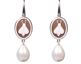 Eyeshadows 925 Silver earrings with pearls and hand-carved cameo