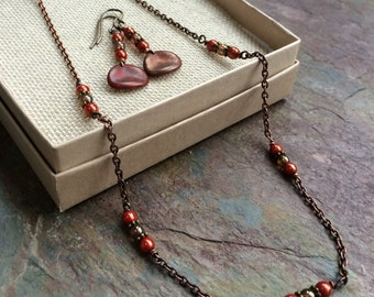 Earthen red and copper necklace and earring set