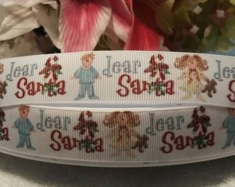 "3 yards, 7/8"" dear Santa design grosgrain ribbon"