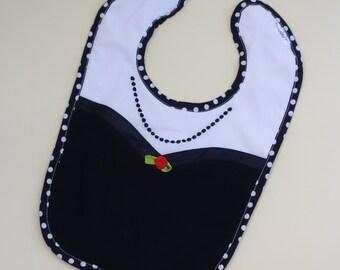 Baby girl bib..Classic black  and white  bib..Toddler bib..Baby shower gift..Baby girl lux bib..baby shower gift..black and white bib