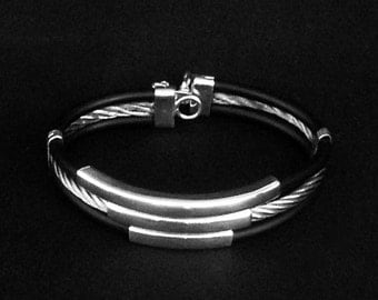 Silver Bracelet with Black Elastic Interposed Band