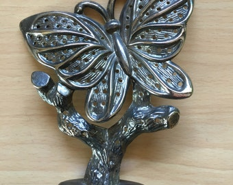 Vintage Silver Plated Butterfly Earring Tree Holder Jewelry Stand