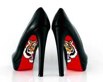 High Heel Shoes - High Heels - Red bottom Shoes With Tiger Design - Hand Painted Heels - Black Platform Heels - Custom heels
