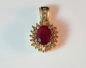 14KT gold ruby and diamond pendant