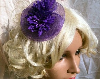 Purple Feather Pearl Headpiece Hair Fascinator & Brooch