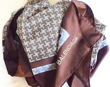 Balenciaga, Luxury Vintage Silk Scarf Vintage 70's, Brown Blue White, Summer Sale, CIJ, Christmas in July