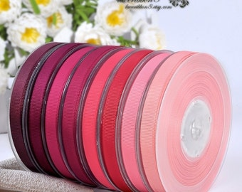 """100 Yards - 1"""" 25mm Red Purple Plain Solid Grosgrain Ribbons, Double Faces, Ribbon Supplier Wholesales"""