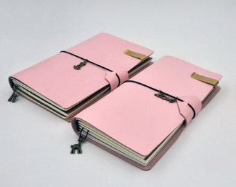 Pastel Pink Leather Midori Inspired Traveler's Notebook Set, Refillable Leather Notebook Journal - PJ052