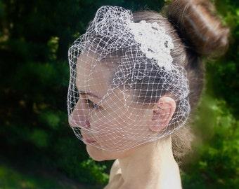 Birdcage Veil, Bridal Veil, Bridal Comb, Blusher Birdcage Veil, Wedding Birdcage Veil, Ivory Birdcage Veil