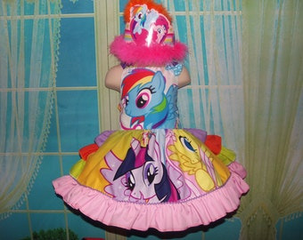 Recycling Patchwork fabric Little Pony Rainbow Dash   Family   Dress or Dress and Perty Hat  Size 18mo-2t 20in length Ready to Ship