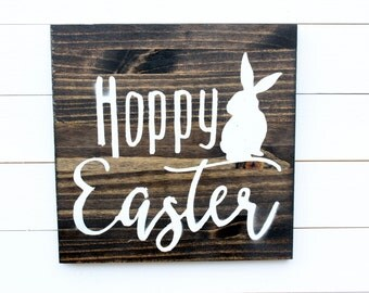 Hoppy Easter Rustic Wall Sign - Hoppy Easter