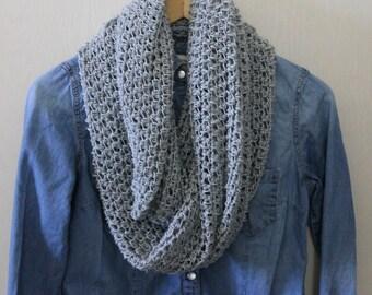 Gray Scarf, Crochet Scarf, Infinity Scarf, Knitted Scarf, Heather Gray Scarf, Grey Scarf, Handmade Scarf, Loop Scarf, Wrap Scarf,