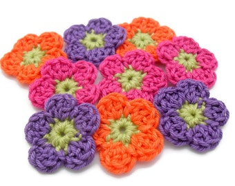 set of 9 crochet flowers Blooming small