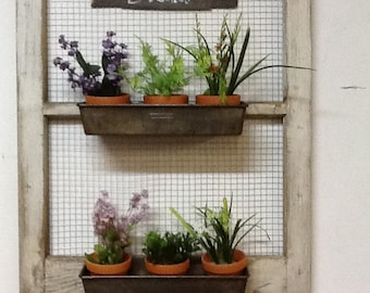 Recycled window herb garden