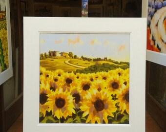 """Sunflowers and Castello di Casole, 28""""x 28"""", Tuscan landscape"""