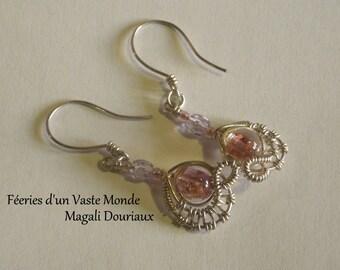 Fairy wirewraps Pearl Earrings Lampwork pink aventurine