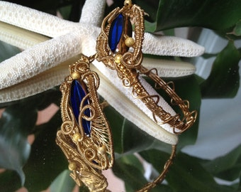 Unique Bracelet Wire Wrapped in Brass