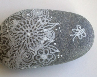 Bee FLORAL PAPERWEIGHT, hand-decorated stone