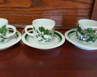 3 Tea Cups & Saucers from Portugal