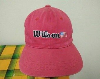 Rare vintage WILSON USA FLAG Embroidered Cap Hat Free size fit all