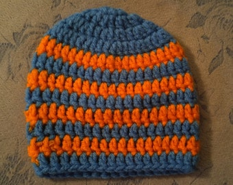 Blue/orange infant beanie