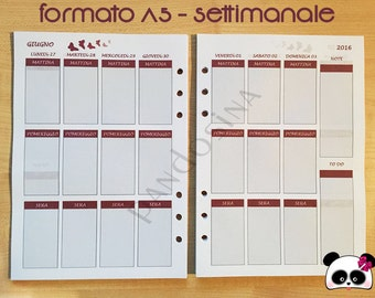 REFILL A5 SIZE-Erin Condren Style-Weekly Vista-compatible with Filofax, Kikki K and many other calendars!