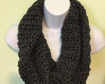 Charcoal/Metallic warm Inifinity scarf