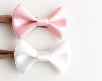 Satin bow baby headband (choose color)