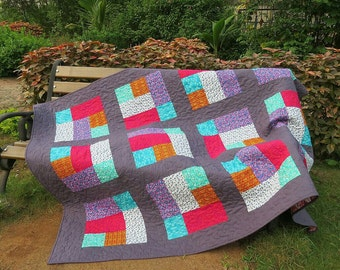 Modern quilt Throw quilt Mens quilt Twin quilt  Colorful quilt Christmas gift  Patchwork bed cover Modern throw quilt Quilt on sale Gray qui