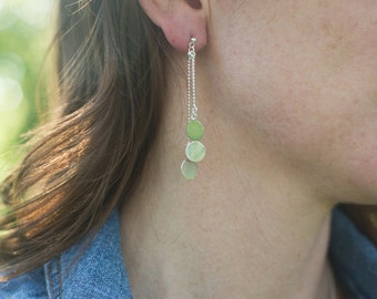 Sterling Silver Bead Chains with Discs Earrings