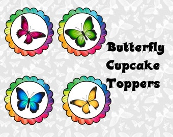 Rainbow Butterfly Cupcake Toppers -INSTANT DOWNLOAD!!