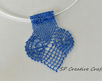 Hand Made Bobbin Lace Necklace - Metallic Blue