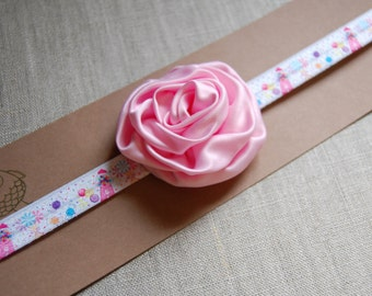 printed FOE fold over elastic head band and flower