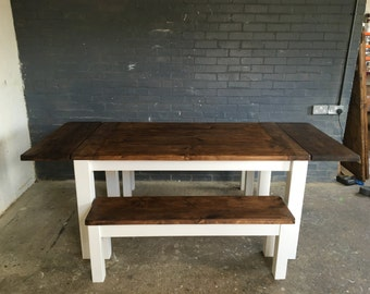 CHUNKY EXTENDABLE - Farmhouse Extentable Dining Table with 2 benches