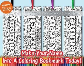 32 Custom Name Coloring Bookmarks with Ribbon / Personalized Bookmarks / Favorite on Instagram Likes Twitter & Tumblr