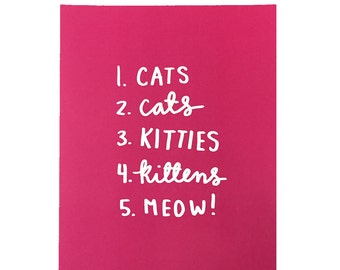 Cats Print - 8x10 - Pink & Print