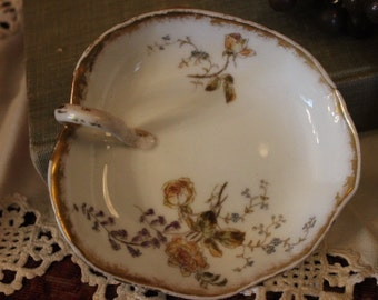 Antique Ch. Field Haviland Leaf Shaped Lemon Serving Plate with Hand Painted Flowers and Gold Gilding