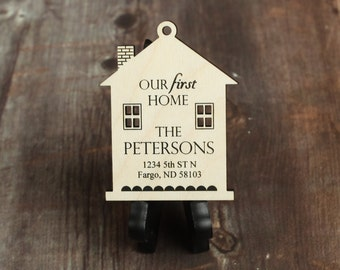 Our First Home Ornament with Last Name and Address - First Home Gift - Christmas Ornament