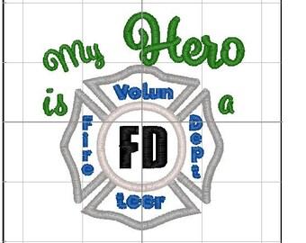 My Hero is a Volunteer FD applique 4x4
