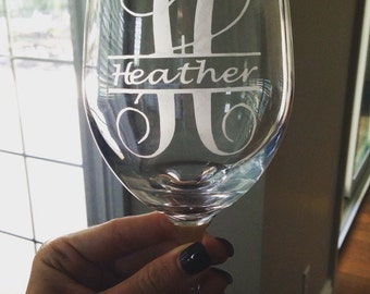 Personalized Etched Wineglass