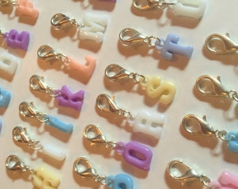 Pastel coloured letter charm, Stitch markers, crochet ends, knit markers, knitting accessories, crochet accessories, craft tools