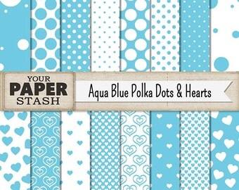 Aqua Blue Digital Paper Pack, Polka Dot, Heart, Scrapbook Paper, Summer, Birthday, Vacation, Scrapbook Page, Commercial Use, Download