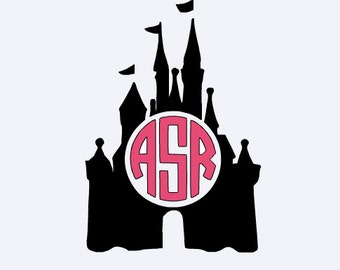 Disney Castle Circle Monogram Vinyl Decal