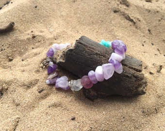 Amethyst and amazonite bracelet